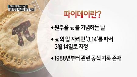 오늘은 사탕 대신 파이…3월 14일은 파이데이(π-day)