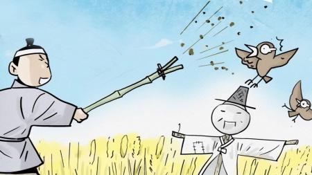 곡식을 쪼아 먹는 새들 쫓는 '팽개치다'