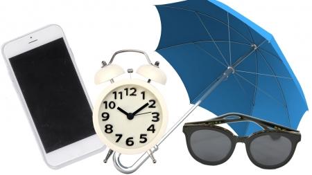 휴대전화, 우산, 시계, 선글라스